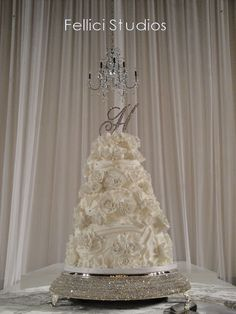 Amy Beck Cake Design - Chicago, IL - 4 Tier fondant wedding cake covered in white roses - #amybeckcakedesign