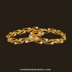 Designer gold pearl bangle from VBJ