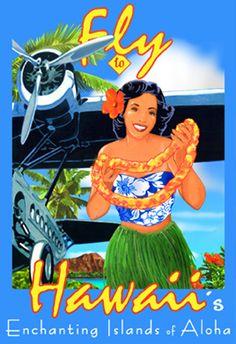 Fly Hawaii Hawaiian Hula Girl beach travel art poster