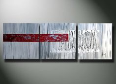 RED Modern Abstract, Abstract paintings, Abstracts, Original Acrylics LARGE Painting 60  20 red silver gray heavy texture canvas fine art. $269.00, via Etsy.