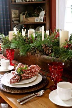 Red Gingham Table Setting for Christmas 2013