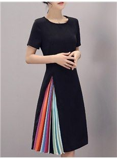 Color Block Pleated A-Line Asymmetrical Women's Day Dress Ladies Day Dresses, Dresses For Teens, Dresses Online, Casual Dresses, Summer Dresses, Vestidos Vintage, Vintage Dresses, Chic Dress, Dress Up