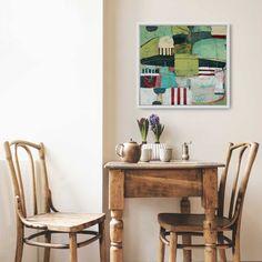 Summer Picnic, original mixedmedia painting on canvas, x framed Green Landscape, Landscape Art, Landscape Paintings, Acrylic Painting Canvas, Oil On Canvas, Canvas Prints, Canvas Paintings, Green Barn, Gray Green