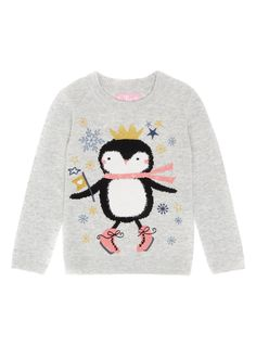 Blended with natural cotton and genuine wool, this jumper will make an adorable addition to her winter collection, and features a festive embroidered penguin design. Girls grey Christmas penguin jumper With wool Embroidered design Ribbed trims Long sleeve Keep away from fire