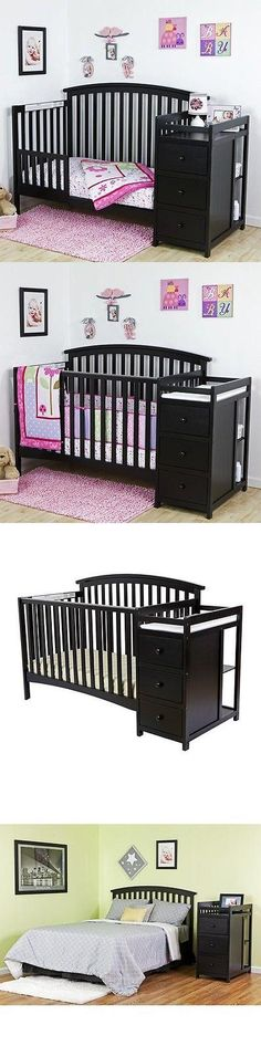 Baby Nursery: Convertible Crib Set Black 5-In-1 Changer Nursery Baby Toddler Bed Furniture BUY IT NOW ONLY: $285.99 #priceabateBabyNursery OR #priceabate