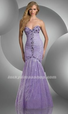 Lilac Mermaid/Trumpet Strapless Prom Dress With Crystal (MF5789)-LuckyDressShop.com