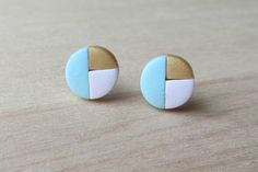 Tiny Round White Gold Blue Tricolor Geometric by ColorfulClay