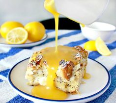 LEMON POPPYSEED CREAM CHEESE BREAD PUDDING WITH LEMON SAUCE