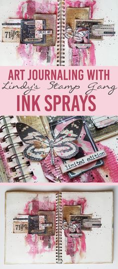 Texture Paste, Adhesive Fabric, Ink Sprays, Ephemera & Collage- Mixed Media Art Journal