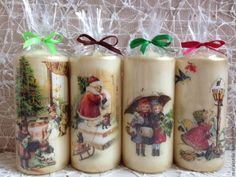 Decoupage candle: photos) master classes with ideas of holiday décor - Part 6 Decoupage Jars, Decoupage Tutorial, Diy Decoupage Crafts, Christmas Candles, Christmas Crafts, Christmas Ornaments, Homemade Candles, Diy Candles, Christmas Decoupage