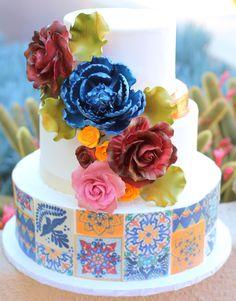 Spanish Tiles Wedding Cake. Mexican Tiles, Museum of Latin American Art. Great Dane Bakery, Weddings, Fondant Flowers