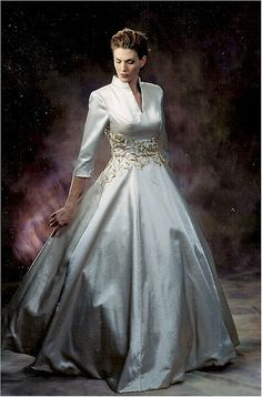 This elegant three quarter sleeve evening gown would be great for any mother of…