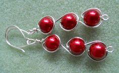 Red Glass Pearl Earrings WireWrapped in Silver by JoJosgems, $16.00
