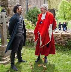 Aidan Turner, Ross Poldark 2015, with Robin Ellis, Ross Poldark in the 1975 series