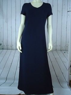J CREW Dress PM Navy Blue Viscose Rayon Spandex Stretch Knit Full Length Shift