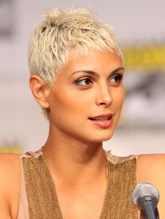 Morena Baccarin nearly shaved pixie cut