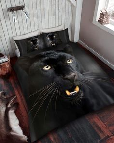 3D Animal Black Panther Premium Duvet Cover Bedding Set Single Double King