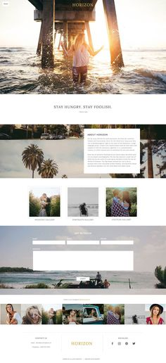 If you can imagine white sunny California beaches, palm trees, and surfing then you're looking at that dream in our Horizon design. You'll love it's minimal clean design, bold colors and sliding menu for a modern feel. After you're done making Horizon your dream photography website, head down to the beach with a drink and relax.