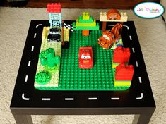 Cute little Lego play table made using an IKEA table...can be adapted for any theme.