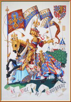 Karel de Stoute (1433-1477), laatste Hertog van Bourgondië, in volledige wapenuitrusting gezeten op zijn strijdros dat opgetuigd is met een heraldisch sjabrak of zadelkleed. Bovenaan rechts het wapen van de Bourgondische hertogen, omsnoerd met het ordeteken van de Orde van het Gulden Vlies. (Gouache geschilderd door Andrew Stewart Jamieson)