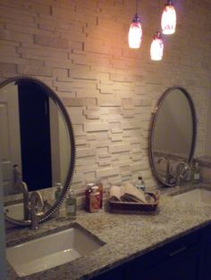 Stone accent wall in Bathroom is a unique feature