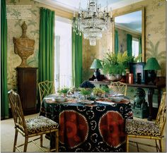 Are Your Christmas Decorations Making You Blue? - laurel home | fabulous dining room by Miles Redd | everything he touches is so rich and perfect!