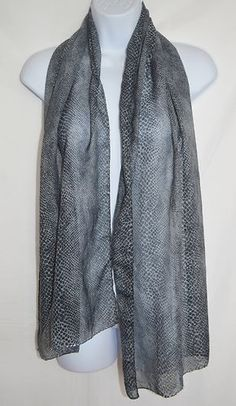 Black and Gray Snake Skin Pattern Scarf Beaded Edges Light Weight Wrap | eBay