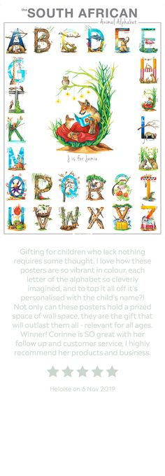 This made-to-order, personalised poster not only features the entire South African Animal Alphabet, but also one enlarged letter with a name below. Add a birth date or short note too at no extra charge! ❤️🇿🇦  Perfect for littlies just learning to read; a totally unique baby shower gift; a wondrous staple piece in a child's nursery or room; a fantastic gift for those who are wild at heart. 🦁  #animalalphabet #babynames www.thehappystrugglingartist.co.za Personalized Posters, Unique Baby Shower Gifts, Animal Alphabet, African Animals, Staple Pieces, Wild Hearts, Baby Names, Birth, Whimsical