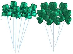 St Patricks Day Green Glitter Foam Picks  Shamrocks and Leprechaun Top Hats 2 Packs * Check out this great product.