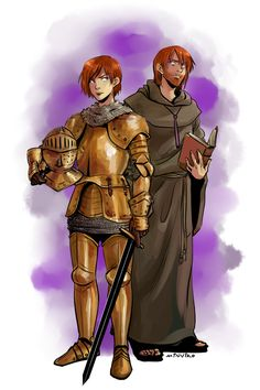 the knight and the sorcerer Alanna and Thom.- tho Alanna would be a lot shorter then him.