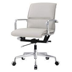 Meelano Leather Desk Chair Upholstery Color: Gray, Frame Finish: Aluminum