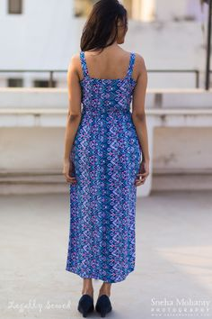 The very pretty blue aztec print maxi dress. Perfect for a summer day out!