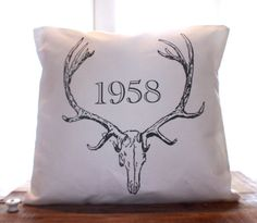 Vintage Antler Pillow by CCurate on Etsy