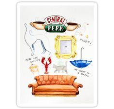 "Central Perk, Monica's iconic yellow peephole frame, Phoebe's smelly cat, the dog statue, and other memorable details inspired by the favorite TV show ""Friends"". This design makes a lovely gift for your own Ross, Rachel, Monica, Chandler, Joey, and Phoebe, or any ""Friends"" fan. • Also buy this artwork on stickers, apparel, phone cases, and more."