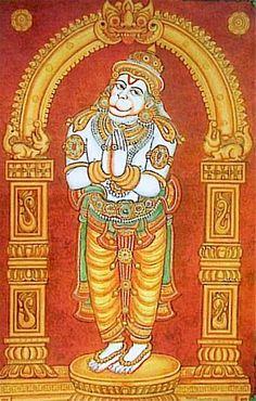 Hanuman Mysore Painting, Kerala Mural Painting, Tanjore Painting, Indian Art Paintings, Hanuman Hd Wallpaper, Lord Vishnu Wallpapers, Hanuman Images, Hindu Deities, Hinduism