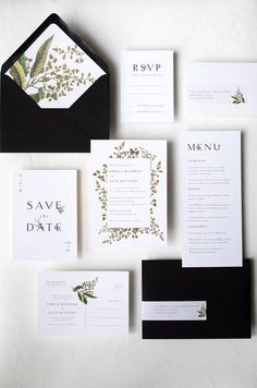 Leafy Botanical Typography Invitation / Sophia Suite