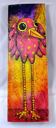 Pink Whimsical Bird by PhantomWhispers on Etsy, $45.00