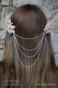 Bridal headpiece  boho wedding  floral heapiece chains by Ayalga