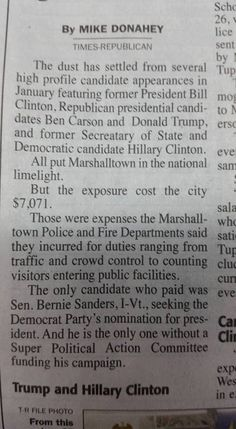 "wow - You talk about integrity and responsibility.  From today's local paper in Marshalltown, IA- ""The only candidate who paid was Bernie Sanders."" - Democratic Underground"