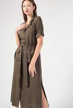Azalea Button Down SS Midi Waist Tie Dress Wrap Dress, Tie Dress, Button Up Dress, Trends, Trending Now, Boho Dress, Button Downs, Short Sleeve Dresses, Buttons