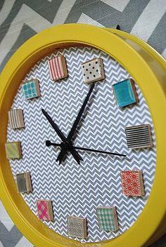 Washi Tape Clock from Tatertots and Jello
