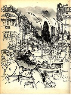 The sets were designed to look like the ink illustrations of Ronald Searle and Edward Gorey. Ink Illustrations, Illustration Art, Cartoon Museum, Ronald Searle, Sketchbook Inspiration, Urban Sketching, Ex Libris, Nightmare Before Christmas, Oeuvre D'art