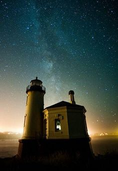 Lighthouse with the Milky Way at Bandon, OR