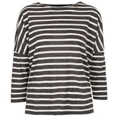Topshop Stripe Linen Tee ($20) ❤ liked on Polyvore featuring tops, t-shirts, long sleeved shirts, shirts, topshop, boat neck t shirt, long-sleeve shirt, striped long sleeve t shirt, long sleeve linen shirt and striped t shirt