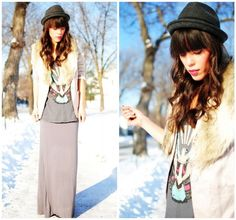 maxi skirt + fedora