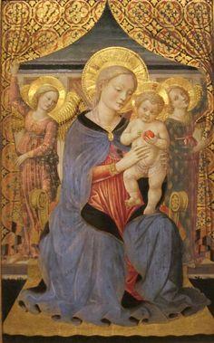 Benozzo Gozzoli (1420-1497) ––    Madonna and Child with Angels  :   Academy of Arts, Honolulu, Hawaiʻi.   USA  (736×1184)