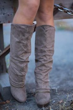 Living On the Wedge Zipper Detailed Wedged Boots (Taupe) - NanaMacs.com - 1