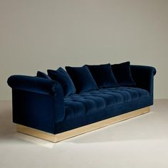 blue velvet couch sofa | Navy Sofa