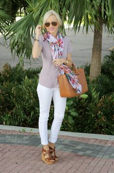 I recreated this with my lavender ankle slacks, plain white tee, pink/white/gray scarf, and or gold wedges. -Brita #style #fashion