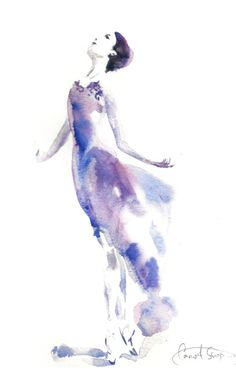 Ballerina Painting Original Watercolor Painting by CanotStop